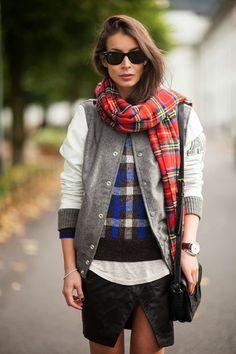 plaid scarf, varsity jacket
