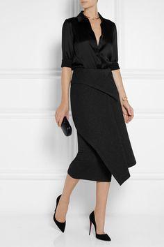 Donna Karan New York - Layered neoprene and jersey midi skirt 7fd483d5ffb