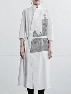 nude:masahiko maruyama :: 15SS :: DISTORTION 3 :: EMBROIDERY SHIRT COAT OFF WHITE