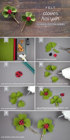 DIY Clover Hair Clip Tutorial for St Patrick's Day is part of Kids Crafts Flowers Hair Clips - Craft up this simple clover hair clip to get you ready for St Patrick's Day This easy project is a great kid's craft as well! Felt Diy, Felt Crafts, Fabric Crafts, Sewing Crafts, Kids Crafts, Felt Flowers, Diy Flowers, Fabric Flowers, Felt Hair Accessories