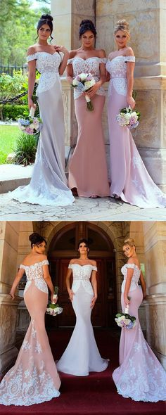 lace mermaid bridesmaid dresses,elegant long wedding party dress,off the shoulder bridesmaid dress,bridesmaid dress for fall