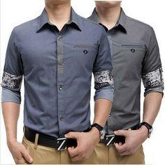 2014 fashion casual long sleeved turn-down collar men shirt slim style shirt for men Free shipping MCL217 $40.98