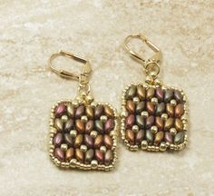 SUPERDUO Dangle Earrings -Matte Metallic Bronze Iris SuperDuos - Toho Seed Beads - Gold Plated Leverback Earwires