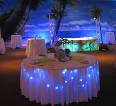 Beach Birthday Party- Here's a great example of 2 kinds of under table lighting. The table in the front is under lighted with blue LED stri...