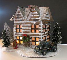 Log Cabin Glitter House for Christmas Decor  www.etsy.com/shop/painterlex