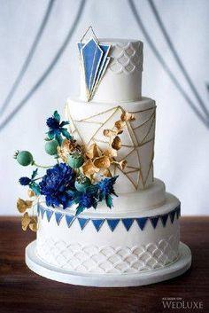 Blue geometric cake