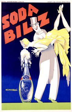 """orangina drink vintage art poster print  blue french for glass frame 36/"""""""