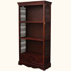 Hand-Carved Rustic Solid Wood Bookcase