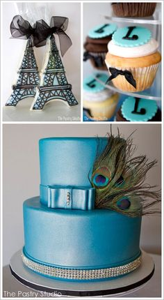 Love the Tower Cookies!  & Love the color of peacock cake.  ould add a lil purple to go w/feathers.  like the rhinestone elements too.