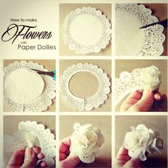 Paper flowers made from doilies