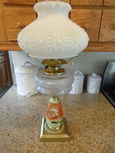 1243ade93d9a Antique Composite Oil Lamp Daisy   Button Cased Glass Shade Converted to  Electric