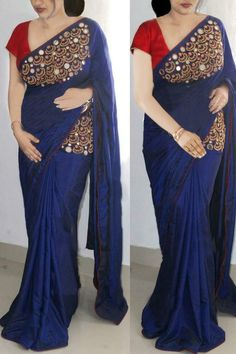 Navy Blue Paper Silk Embroidered Saree With Blouse by Trendy's Shop - Online shopping for Sarees on MyShopPrime - Kerala Saree Blouse Designs, Saree Blouse Neck Designs, Fancy Blouse Designs, Saree Tassels Designs, Blouse Patterns, Designer Sarees Wedding, Bollywood Designer Sarees, Bollywood Saree, Bollywood Fashion