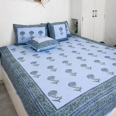 Linen Bedding, Bed Linens, Pink Suit, Mirror Work, Cushions, Pillows, Shades Of Blue, Bed Sheets, Printed Cotton