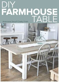 Farmhouse dining table is a great addition to create rustic, cozy look in a dining room #FarmhouseKitchenTable #FarmhouseDecor