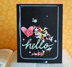 Card by Teri Anderson. Genius card using the leftover bits from a corner-rounder punch!