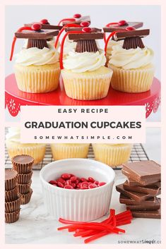 Graduation Discover Easy Graduation Cupcakes Recipe - Somewhat Simple Whether youre celebrating an advancement from preschool to Kindergarten or an earned college degree these graduation cupcakes are perfect for your party! Graduation Party Desserts, Graduation Party Foods, Graduation Cupcakes, College Graduation, Cupcake Recipes, Cupcake Cakes, Party Cupcakes, Cake Decorating Tips, Cakes For Boys