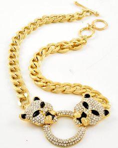 Gold Tone / Clear Rhinestone & Black Epoxy / Lead Compliant / Animal / Puma Pendant Necklace