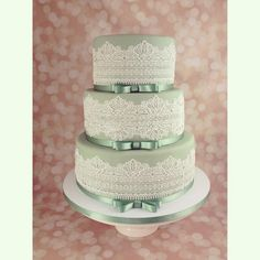 Sage Green Lace Cake - Cake by sweetonyou