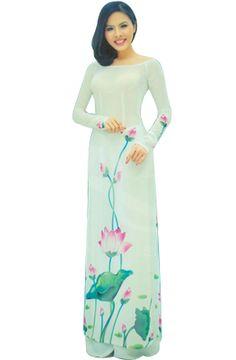ao dai with lotus flowers