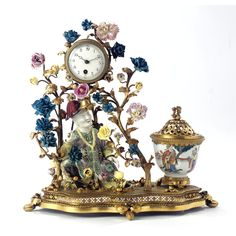 A Louis XV Style Ormolu-Mounted Porcelain Clock,19th Century, the Porcelain probably Samson