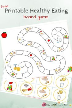 Kids Kitchen: Healthy Eating Game Printable Kids Kitchen: Free Printable Board Game for Teaching Kids About Healthy Eating. Includes info on how much children should eat from each of the four food groups, and four different ways to play! Nutrition Activities, Kids Nutrition, Preschool Activities, Nutrition Education, Nutrition Guide, Nutrition Chart, Nutrition Month, Nutrition Shakes, Food Games For Kids