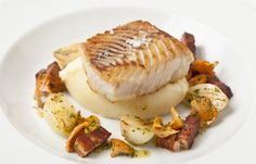 Pan fried halibut with smoked bacon and girolles by Adam Gray