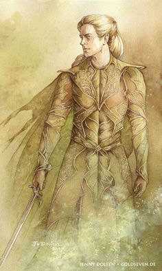 Warrior of Mirkwood - facsimile print ~ Thranduil goes to war (the Dagorlad, I guess) Lotr, Anime Hairstyles Male, Glorfindel, O Hobbit, Into The West, Thranduil, Legolas, Jrr Tolkien, The Elf