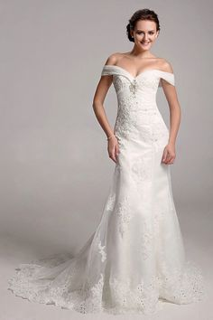 Sheath/Column Bateau Neck Off-the-shoulder Crystal Lace Court Train Wedding Dress
