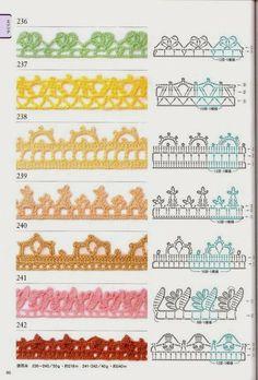 100 Modelos de Bicos/Barradinhos de Crochê com Gráfico Crochet Boarders, Crochet Edging Patterns, Crochet Lace Edging, Crochet Motifs, Crochet Diagram, Crochet Chart, Lace Patterns, Crochet Trim, Love Crochet