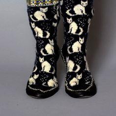 slippers women black white blue wool cats by helgihandicraft, $75.00