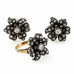Antique Diamond Flower Earrings and Ring Suite