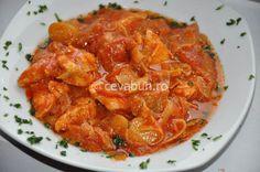 Mancare cu praz si pui - reteta Romanian Food, Jamie Oliver, Thai Red Curry, Carne, Good Food, Gluten, Meat, Chicken, Cooking