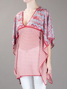 Missoni Knitted Tunic - Spinnaker 101 - farfetch.com - Description Pink and white cotton graphic striped knitted tunic from Missoni featuring a v-neck, draping shawl sleeves, piping across the bust, a loose draping fit and a straight hem.