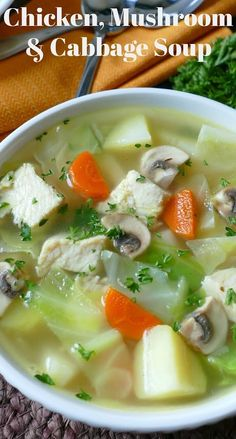 Hot Eats and Cool Reads: Chicken Mushroom and Cabbage Soup Recipe Ho… – Hildred Lefebure - Detox Recipes Cabbage Soup Recipes, Cabbage Soup Diet, Healthy Soup Recipes, Cooking Recipes, Stuffed Cabbage Soup, Shredded Cabbage Recipes, Hot Soup Recipes, Cabbage Stew, Chowder Recipes