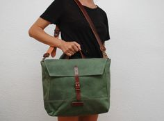 waxed canvas messenger bag with leather handles and closures,green army color