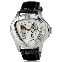 Winner Unisex Stunning Triangle Dial Design Automatic Mechanical Wrist Watch with Faux Leather Band (White)