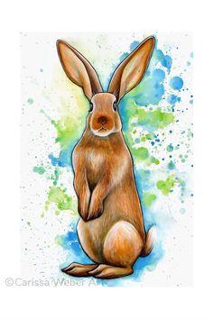 Watercolor Paintings Of Animals, Watercolor Art Lessons, Animal Paintings, Watercolor Deer, Simple Watercolor, Bunny Painting, Painting & Drawing, Painting Process, Art Drawings Sketches