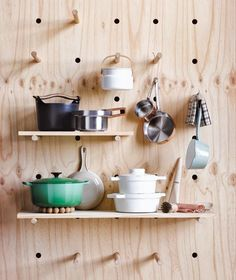 Plywood Shelving And Peg Storage