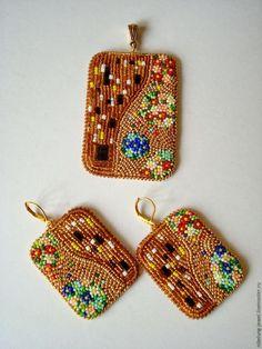 Вышиваем бисером серьги по мотивам картины Климта «Поцелуй» - Ярмарка Мастеров - ручная работа, handmade