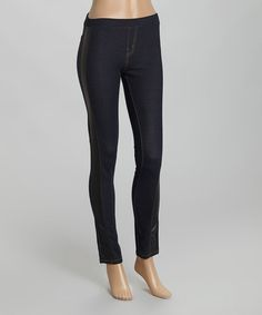 Look what I found on #zulily! Dark Blue Denim & Faux Leather Skinny Pants - Women by Pink Apple #zulilyfinds