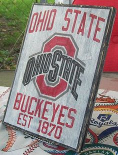 Ohio State Buckeyes wall sign, distressed
