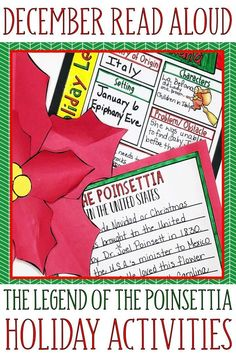 This is holiday book companion supports the story, The Legend of the Poinsettia by Tomie dePaola. It is a perfect way to incorporate academic activities into the Christmas season. Teachers will be able to maintain academic standards through summary writ Reading Activities, Teaching Reading, Teaching Ideas, Learning, Teaching Resources, Elementary Teacher, Upper Elementary, Elementary Education, Polar Express Book