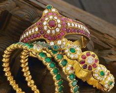 ruby emerald kundan flat diamonds kada bangles