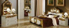 Tia Ivory and Gold Italian Bedroom Set - Full Range Available Italian Bedroom Sets, Luxury Bedroom Sets, Bedroom Sets For Sale, King Bedroom Sets, Luxurious Bedrooms, Luxury Bedding, Classic Bedroom Furniture, Mirrored Bedroom Furniture, Gold Bedroom