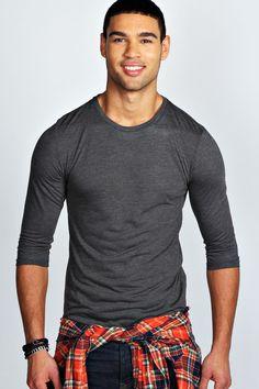 Basic 3/4 Sleeve Crew Neck T Shirt
