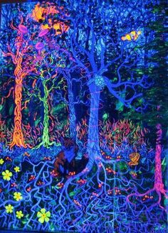 Arboles Paraiso Natural, Psy Art, Psychedelic Art, Tree Art, Trippy, Daydream, Eye Candy, To Go, Artwork