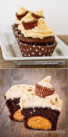 Peanut Butter Ball Chocolate Cupcakes with Peanut Butter Buttercream