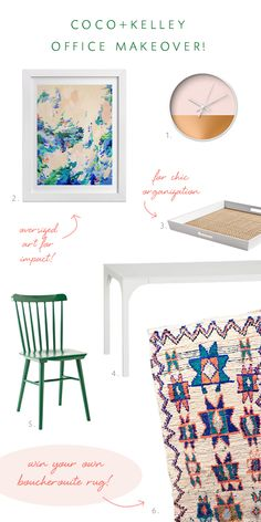 coco+kelley's office makeover features our Kelly Green Tucker Chair and White Lacquer Rattan Tray. #serenaandlily
