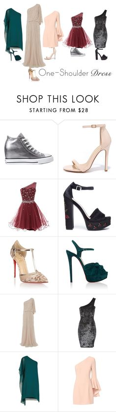 """""""864 (Party Style: One-Shoulder Dress)"""" by c-a-t-20 ❤ liked on Polyvore featuring Converse, Liliana, Chinese Laundry, Christian Louboutin, Raishma, BCBGMAXAZRIA, Exclusive for Intermix, dress and party"""