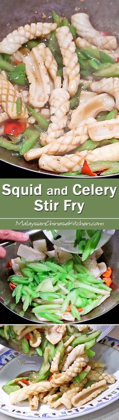 This Squid and Celery Stir Fry is a classic that is sure to please. It is quick, easy, and tasty. Perfect for busy weeknights. | MalaysianChineseKitchen.com